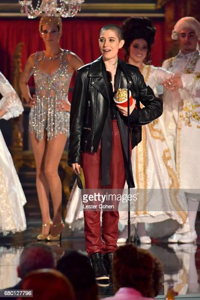 Actor Asia Kate Dillon speaks onstage during the 2017 MTV Movie And TV Awards at The Shrine Auditorium on May 7 2017 in Los Angeles California