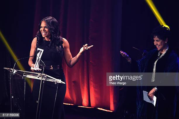Actor Audra McDonald and Phylicia Rashad speak onstage during the Roundabout Theatre Company 2016 Spring Gala at The WaldorfAstoria on February 29...