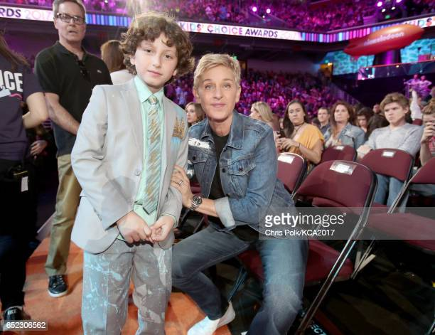 Actor August Maturo and TV personality Ellen DeGeneres at Nickelodeon's 2017 Kids' Choice Awards at USC Galen Center on March 11 2017 in Los Angeles...