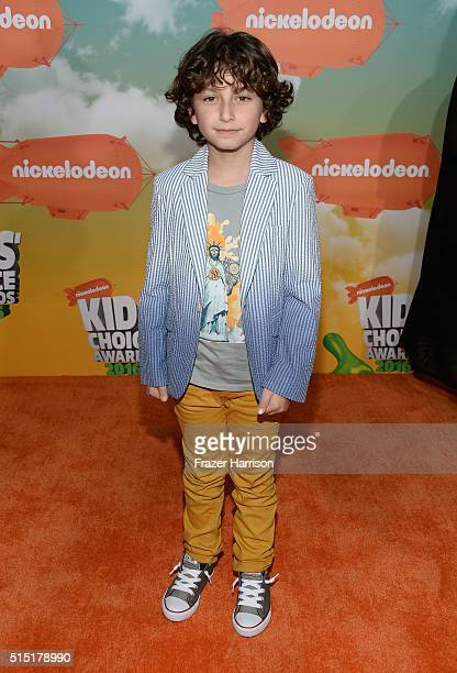 Actor August Maturo attends Nickelodeon's 2016 Kids' Choice Awards at The Forum on March 12 2016 in Inglewood California