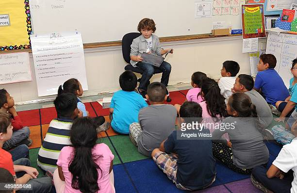 Actor August Maturo attends the SAG Foundation and Rise Up Foundation Read to Me Challenge at Coldwater Canyon Elementary School on September 24 2015...