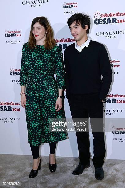 Actor Aurelien Gabrielli nominated for 'Quand je ne dors pas' and his sponsor Valerie Donzelli attend the 'Cesar Revelations 2016' Photocall at...