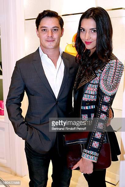 Actor Aurelien Wiik and Aurelie Montea attend 'Vendanges Montaigne 2013' At Dior Avenue Montaigne on September 12 2013 in Paris France