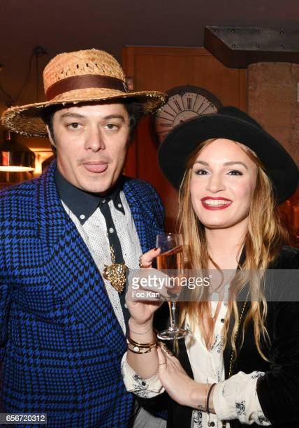 Actor ÊAurelien Wiik and PR Chloe Clor attend 'Apero Mecs A Legumes' Party Hosted by Grand Seigneur Magazine at the Bistrot Marguerite on March 22...