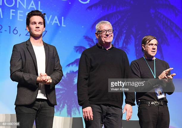 Actor Austin McKenzie activist Cleve Jones and director Gus Van Sant speak during a panel after the North American Premiere of 'When We Rise' at the...