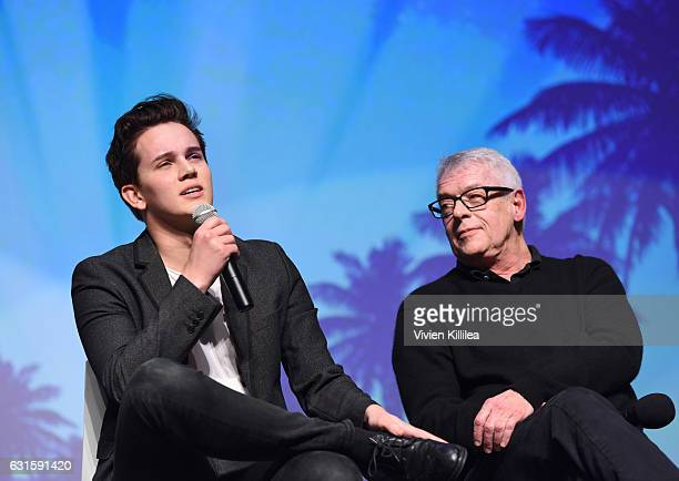 Actor Austin McKenzie and activist Cleve Jones speak during a panel after the North American Premiere of 'When We Rise' at the 28th Annual Palm...