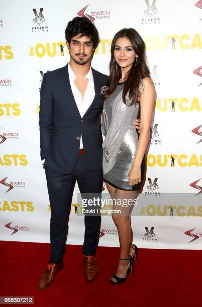 Actor Avan Jogia and actress Victoria Justice attend the premiere of Swen Group's 'The Outcasts' at Landmark Regent on April 13 2017 in Los Angeles...