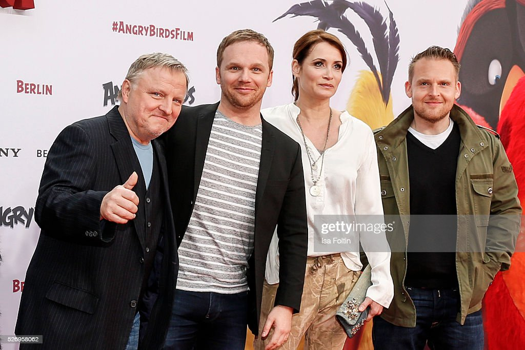 Actor Axel Prahl, moderator Ralf Schmitz, actress Anja Kling and actor Axel Stein attend the Berlin premiere of the film 'Angry Birds - Der Film' at CineStar on May 1, 2016 in Berlin, Germany.