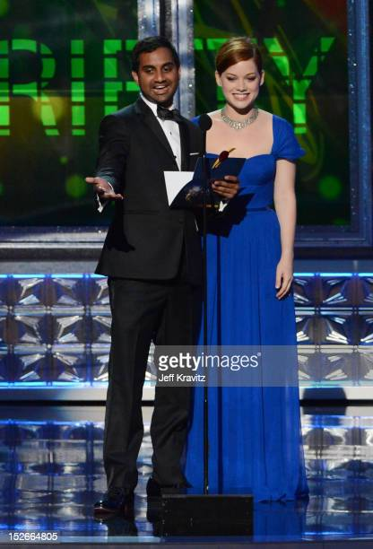 Actor Aziz Ansari and actress Jane Levy onstage during the 64th Primetime Emmy Awards at Nokia Theatre LA Live on September 23 2012 in Los Angeles...