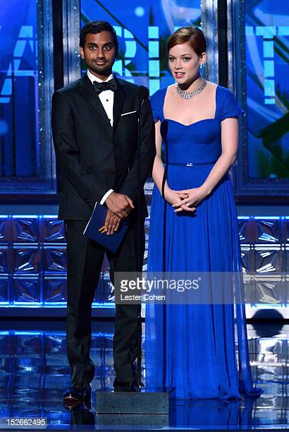 Actor Aziz Ansari and actress Jane Levy speak onstage at the 64th Primetime Emmy Awards at Nokia Theatre LA Live on September 23 2012 in Los Angeles...