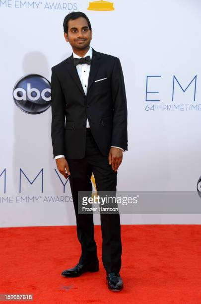 Actor Aziz Ansari arrives at the 64th Annual Primetime Emmy Awards at Nokia Theatre LA Live on September 23 2012 in Los Angeles California