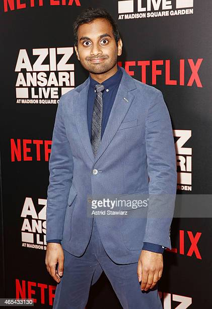 Actor Aziz Ansari attends 'Aziz Ansari Live at Madison Square Garden' New York Screening at Crosby Street Hotel on March 6 2015 in New York City
