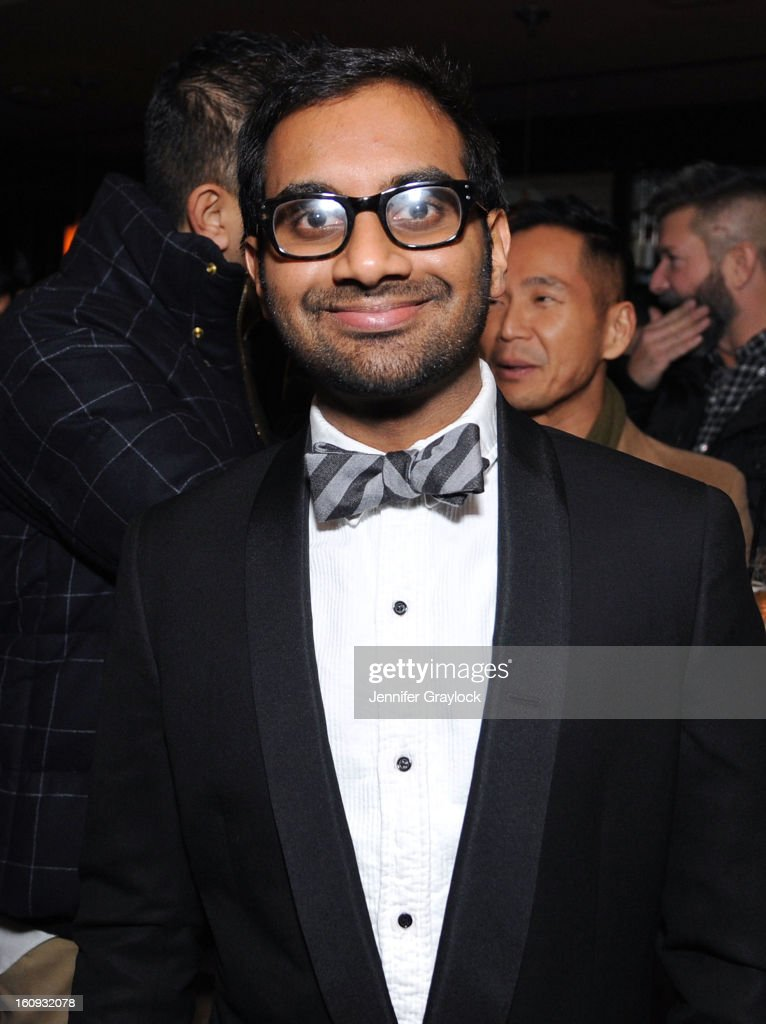 Actor <a gi-track='captionPersonalityLinkClicked' href=/galleries/search?phrase=Aziz+Ansari&family=editorial&specificpeople=4266146 ng-click='$event.stopPropagation()'>Aziz Ansari</a> attends the Band Of Outsiders Fashion Week Mens Collection After Party held at the Monkey Bar on February 7, 2013 in New York City.