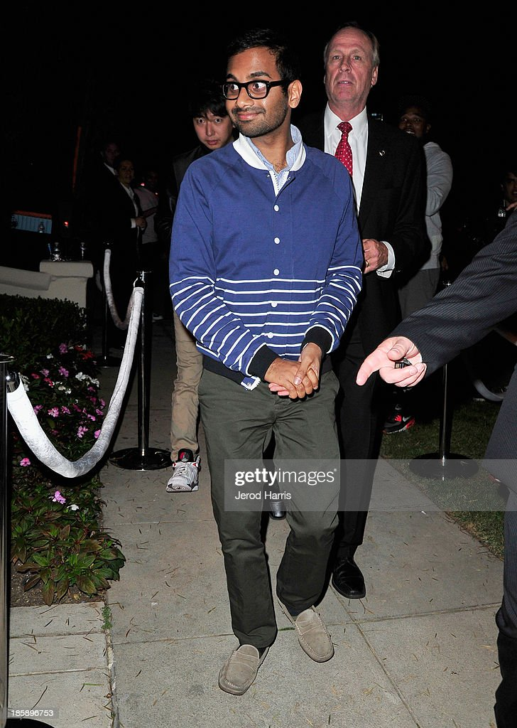 Actor <a gi-track='captionPersonalityLinkClicked' href=/galleries/search?phrase=Aziz+Ansari&family=editorial&specificpeople=4266146 ng-click='$event.stopPropagation()'>Aziz Ansari</a> attends the Casamigos Halloween Party at the home of Mike Meldman on October 25, 2013 in Beverly Hills, California.