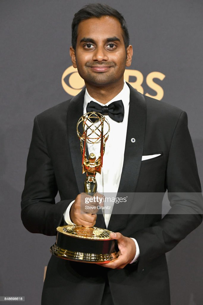 Actor Aziz Ansari poses in the press room during the 69th Annual Primetime Emmy Awards at Microsoft Theater on September 17, 2017 in Los Angeles, California.