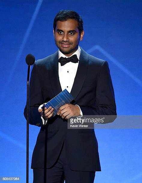 Actor Aziz Ansari speaks onstage during the 21st Annual Critics' Choice Awards at Barker Hangar on January 17 2016 in Santa Monica California