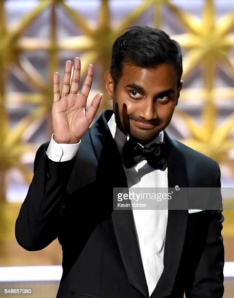 Actor Aziz Ansari speaks onstage during the 69th Annual Primetime Emmy Awards at Microsoft Theater on September 17 2017 in Los Angeles California