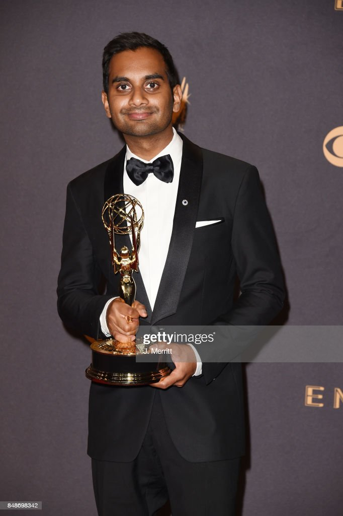 Actor Aziz Ansari, winner of Outstanding Writing for a Comedy Series for 'Master of None', poses in the press room during the 69th Annual Primetime Emmy Awards at Microsoft Theater on September 17, 2017 in Los Angeles, California.