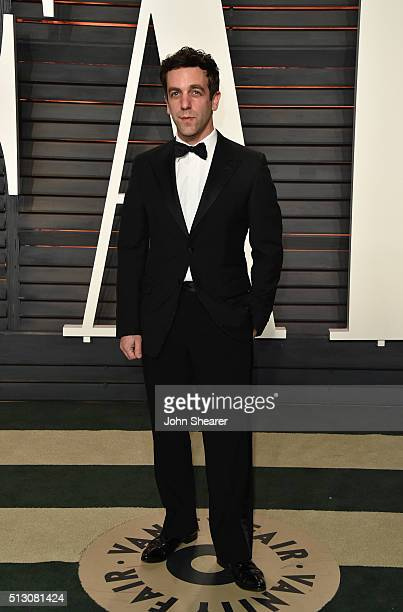 Actor B J Novak arrives at the 2016 Vanity Fair Oscar Party Hosted By Graydon Carter at Wallis Annenberg Center for the Performing Arts on February...