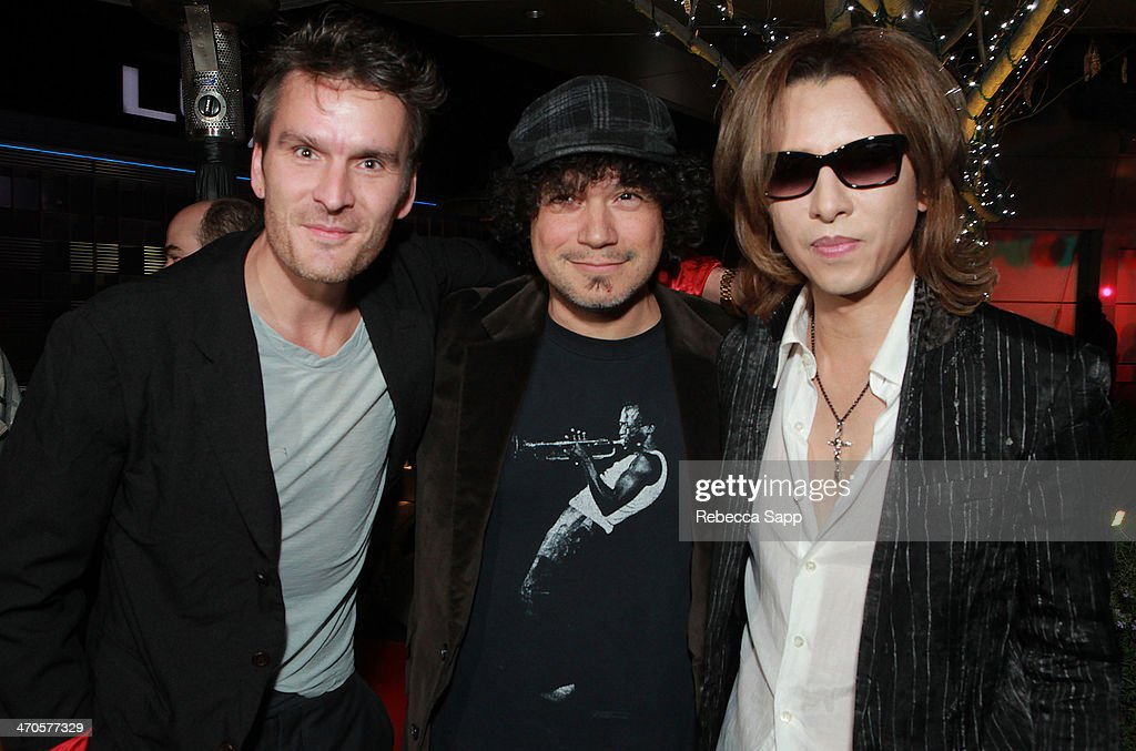 Actor Balthazar Getty musician Asdru Sierra of Ozomatli and musician Yoshiki at Yoshiki Classical Event at The GRAMMY Museum on February 19 2014 in...