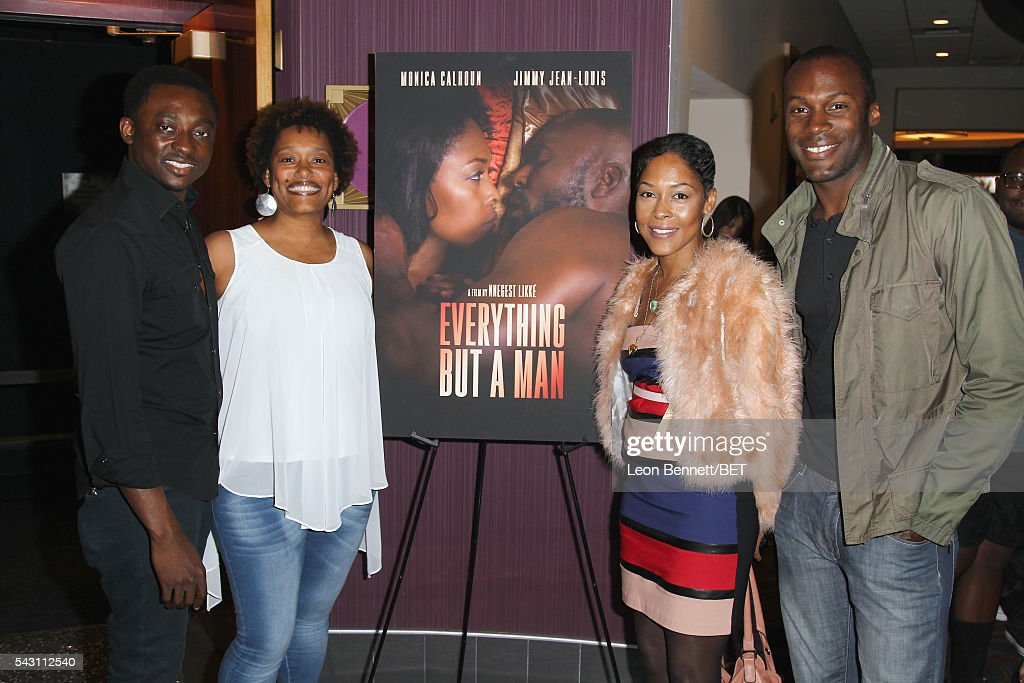 Actor Bambadjan Bamba filmmaker Nnegest Likke actress Monica Calhoun and actor JeanPierre Vertus attend the ABFF Encore @ BET Experience Screening...