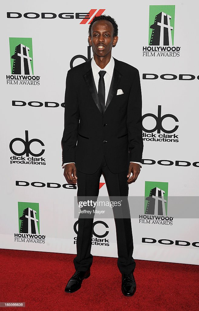 Actor <a gi-track='captionPersonalityLinkClicked' href=/galleries/search?phrase=Barkhad+Abdi&family=editorial&specificpeople=11418442 ng-click='$event.stopPropagation()'>Barkhad Abdi</a> arrives at the 17th Annual Hollywood Film Awards at The Beverly Hilton Hotel on October 21, 2013 in Beverly Hills, California.