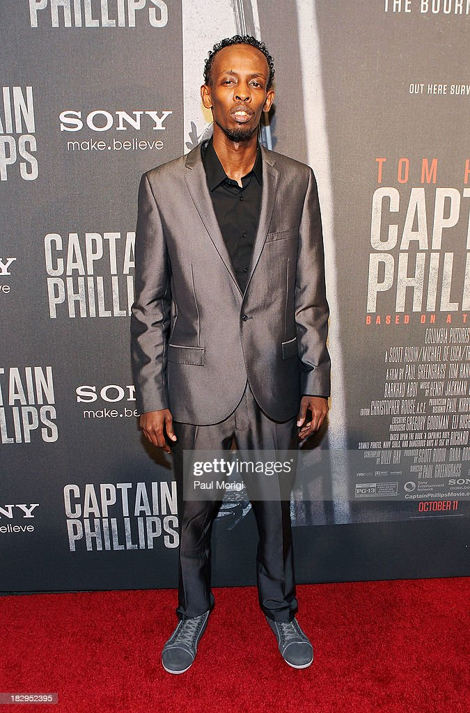 Actor Barkhad Abdi arrives at the screening of 'Captain Phillips' at The Newseum on October 2, 2013 in Washington, DC.