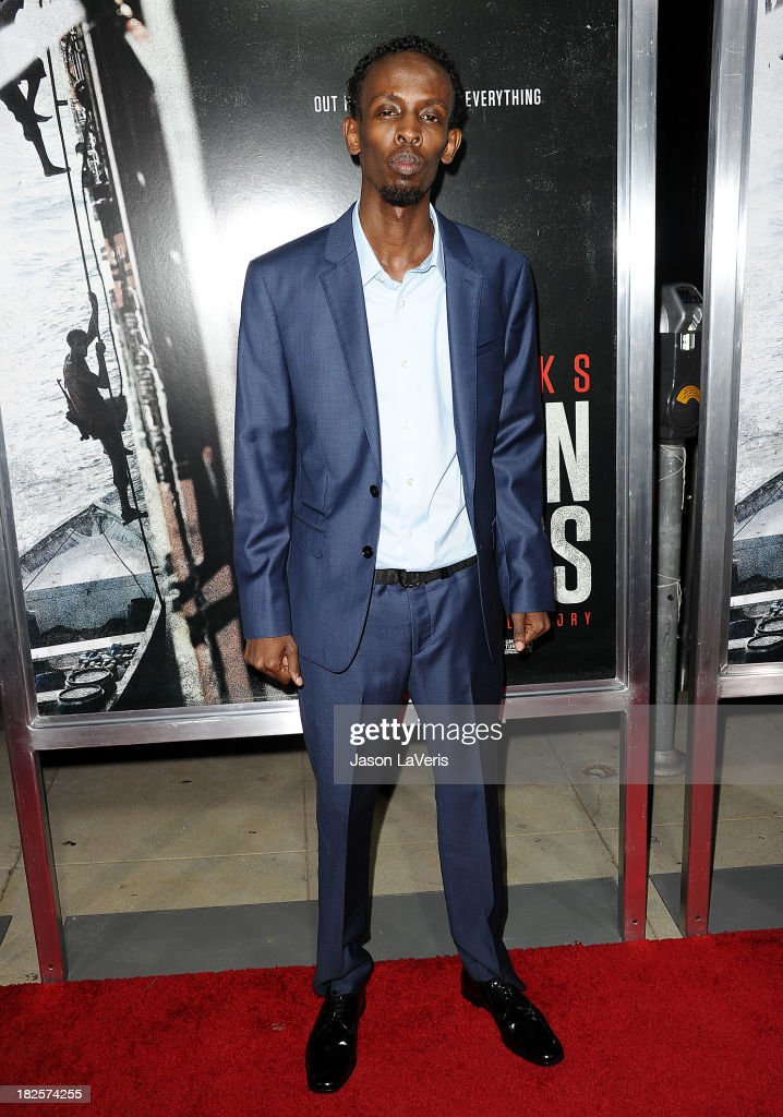 Actor <a gi-track='captionPersonalityLinkClicked' href=/galleries/search?phrase=Barkhad+Abdi&family=editorial&specificpeople=11418442 ng-click='$event.stopPropagation()'>Barkhad Abdi</a> attends the premiere of 'Captain Phillips' at the Academy of Motion Picture Arts and Sciences on September 30, 2013 in Beverly Hills, California.