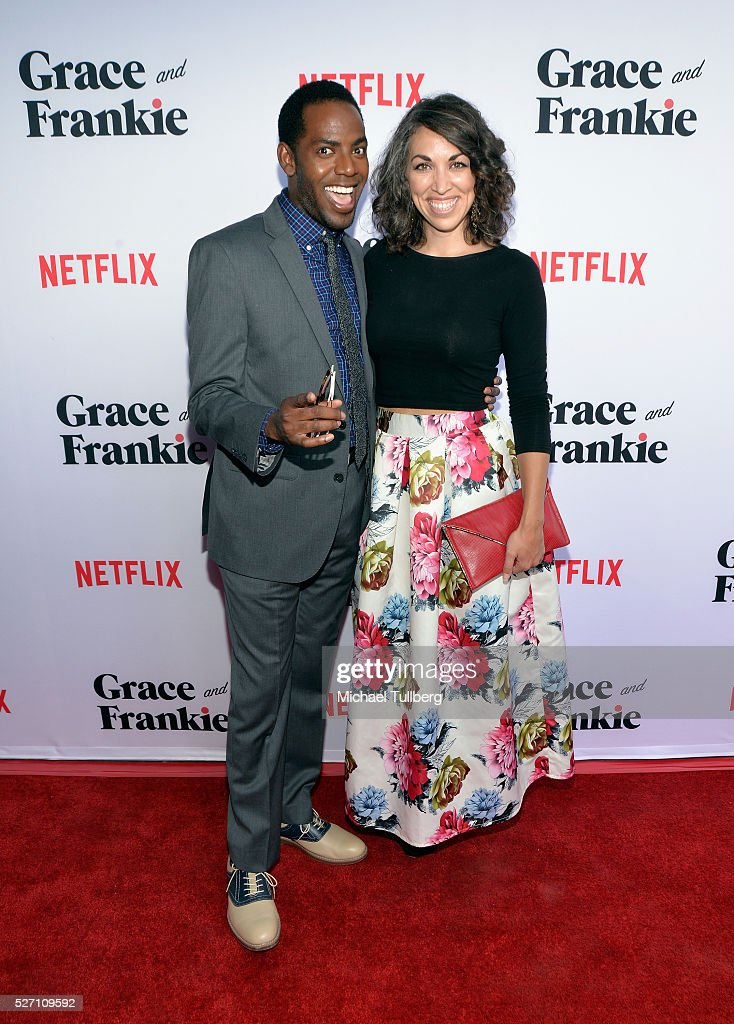 Actor Baron Vaughn and guest attend the premiere of Season 2 of the Netflix Original Series 'Grace & Frankie' at Harmony Gold on May 1, 2016 in Los Angeles, California.