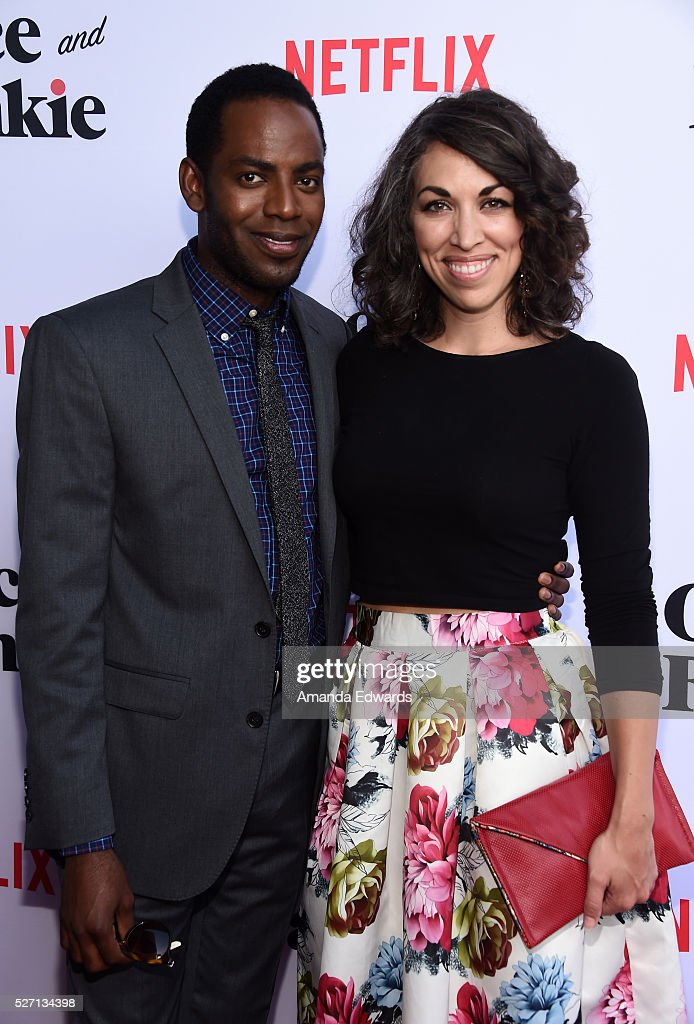 Actor Baron Vaughn (L) and Rhiannon Houch arrive at the Netflix Original Series 'Grace & Frankie' Season 2 premiere at the Harmony Gold Theater on May 1, 2016 in Los Angeles, California.
