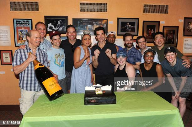 Actor Barrett Doss Andy Karl and the cast of 'Groundhog Day' attend Groundhog Day' celebrates 100th performance on Broadway at August Wilson Theatre...