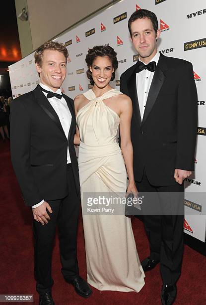 Actor Barrett Foa actress Daniela Rua and actor Peter Cambor attends the G'Day USA 2010 Black Tie gala at the Hollywood Highland Center on January 16...