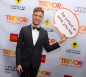 Actor Barrett Foa poses in the Getty Images and Wonderwallcom photo booth and green room at 'Trevor Live' honoring Katy Perry and Audi of America for...