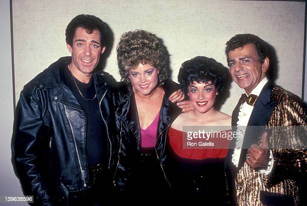 Actor Barry Williams musician Belinda Carlisle of The GoGo's actress Donna Pescow and radio personality Casey Kasem attend the 'Grease' Opening Night...