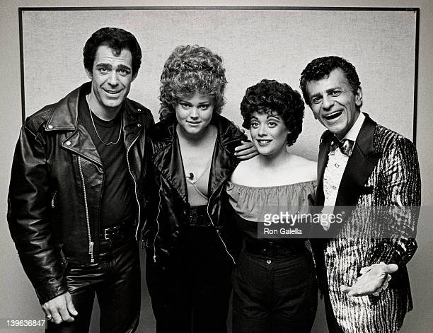 Actor Barry Williams singer Belinda Carlisle actress Donna Pescow and disc jockey Casey Kasem attend the opening of 'Grease' on May 26 1983 at the...