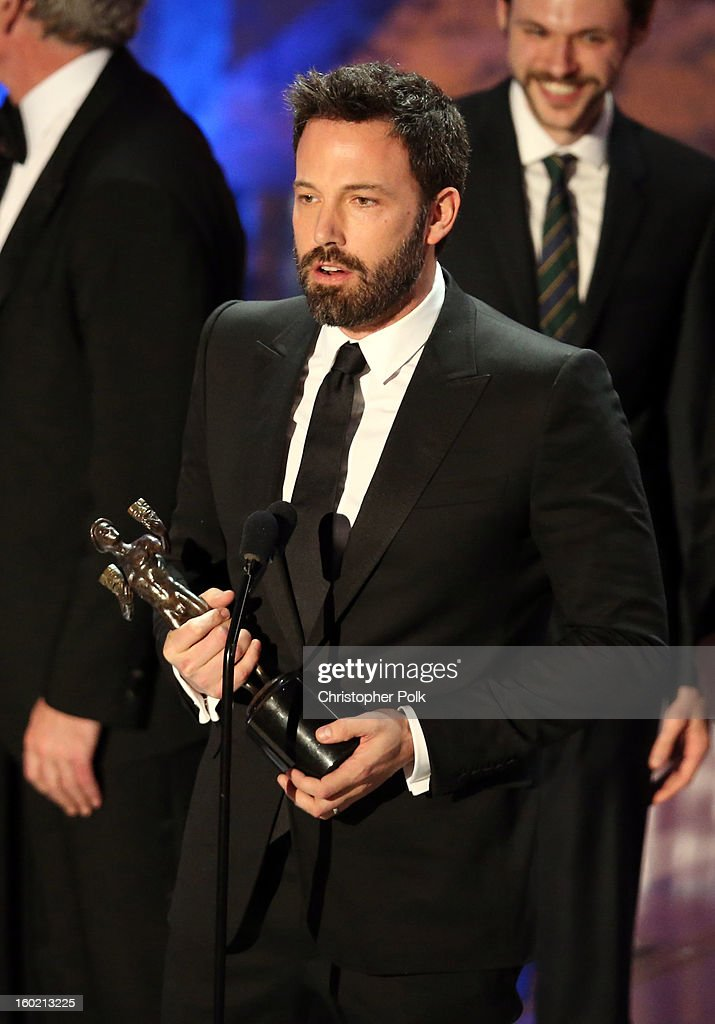 Actor Ben Affleck accepts the award for Outstanding Performance by a Cast in a Motion Picture for 'Argo' onstage during the 19th Annual Screen Actors Guild Awards at The Shrine Auditorium on January 27, 2013 in Los Angeles, California. (Photo by Christopher Polk/WireImage) 23116_012_2124.jpg