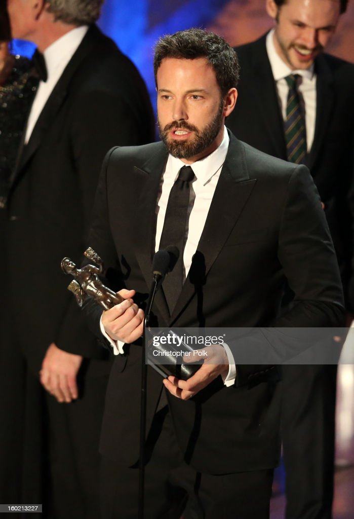 Actor Ben Affleck accepts the award for Outstanding Performance by a Cast in a Motion Picture for 'Argo' onstage during the 19th Annual Screen Actors Guild Awards at The Shrine Auditorium on January 27, 2013 in Los Angeles, California. (Photo by Christopher Polk/WireImage) 23116_012_2123.jpg