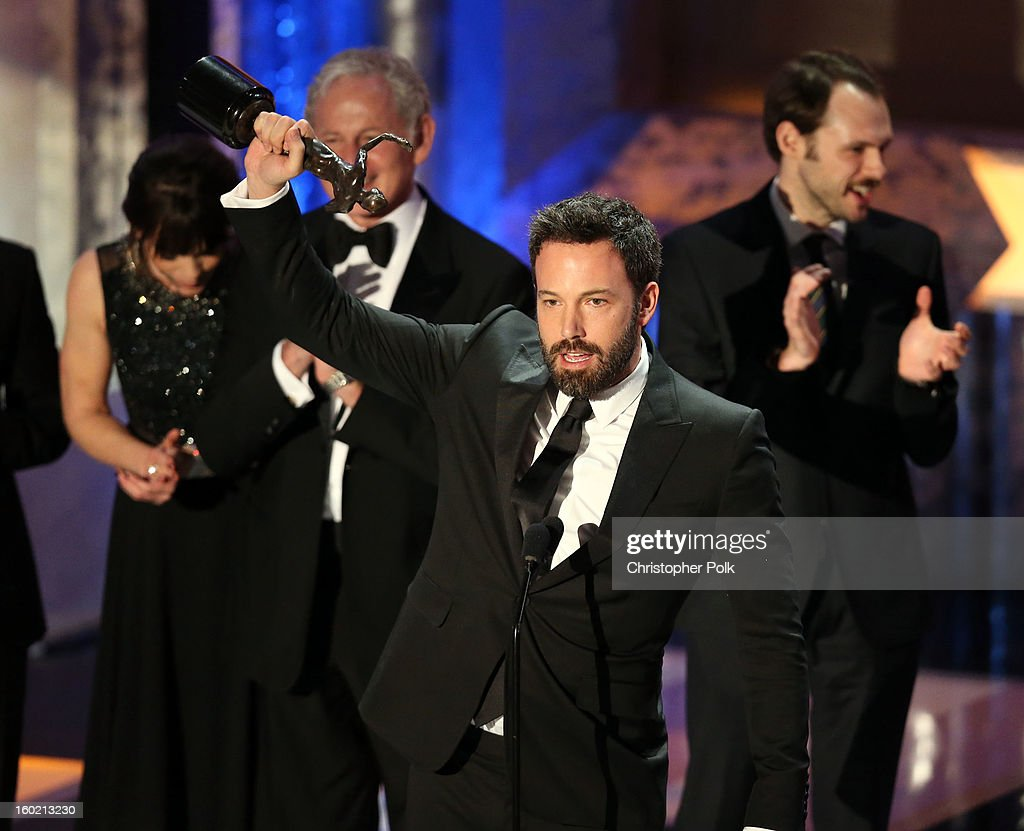 Actor Ben Affleck accepts the award for Outstanding Performance by a Cast in a Motion Picture for 'Argo' onstage during the 19th Annual Screen Actors Guild Awards at The Shrine Auditorium on January 27, 2013 in Los Angeles, California. (Photo by Christopher Polk/WireImage) 23116_012_2152.jpg