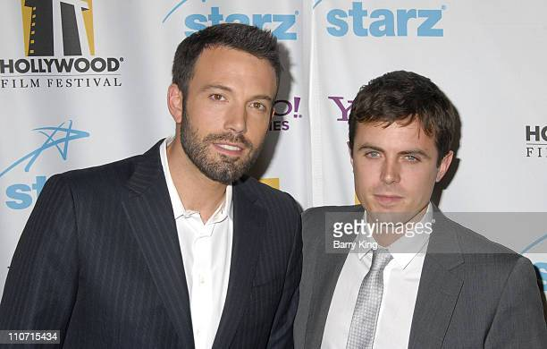 Actor Ben Affleck and actor Casey Affleck arrive to Hollywood Film Festival's Hollywood Awards at the Beverly Hilton Hotel on October 22 2007 in...