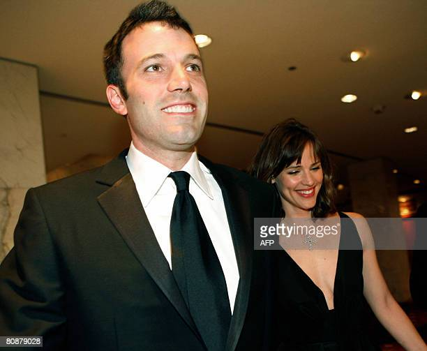 Actor Ben Affleck and his wife actress Jennifer Garner arrive 30 minutes late at the White House Correspondents' Association dinner on April 26 2008...