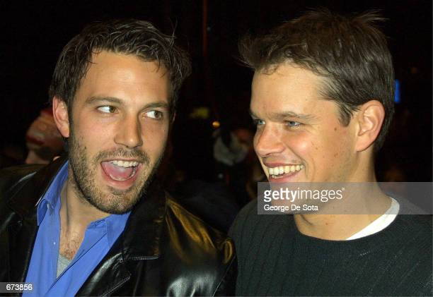 Actor Ben Affleck and Matt Damon attend the premiere of 'Project Greenlight' November 27 2001 at the Chelsea West Theatre in New York City