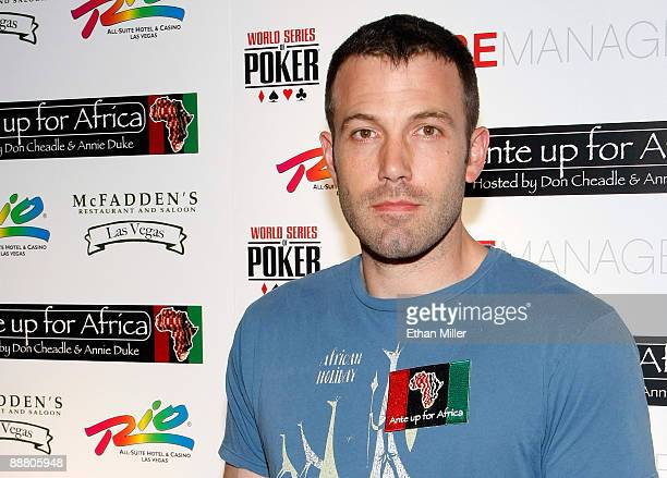 Actor Ben Affleck arrives at the Ante Up for Africa celebrity poker tournament at the Rio Hotel Casino July 2 2009 in Las Vegas Nevada Proceeds from...