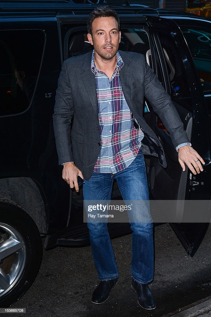 Actor <a gi-track='captionPersonalityLinkClicked' href=/galleries/search?phrase=Ben+Affleck&family=editorial&specificpeople=201856 ng-click='$event.stopPropagation()'>Ben Affleck</a> arrives at the 'Good Morning America' taping at the ABC Times Square Studios on October 7, 2012 in New York City.