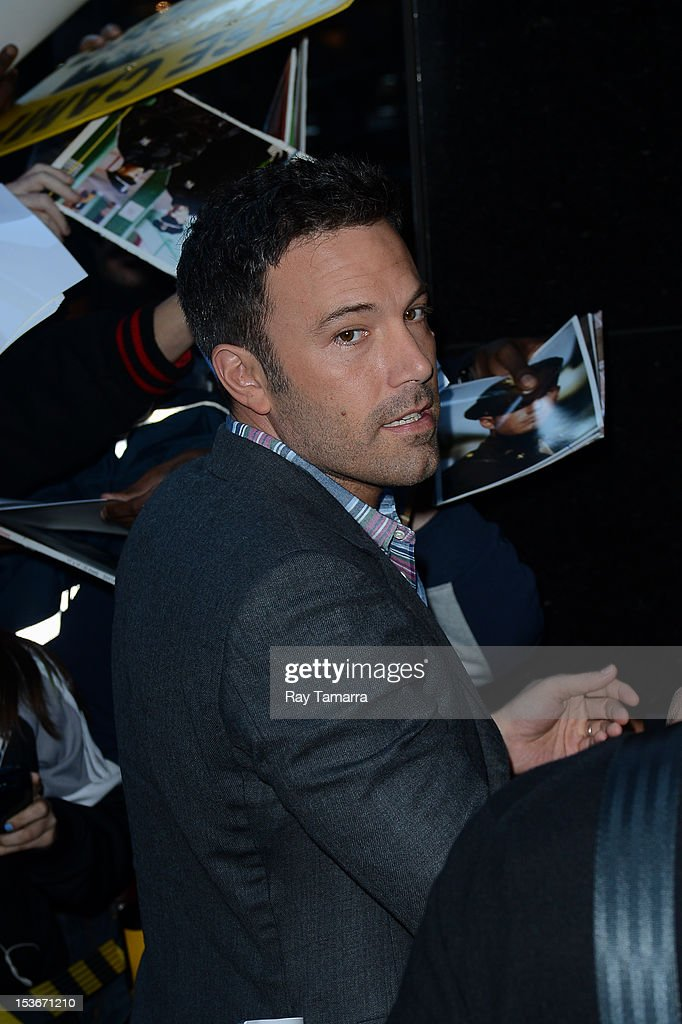 Actor <a gi-track='captionPersonalityLinkClicked' href=/galleries/search?phrase=Ben+Affleck&family=editorial&specificpeople=201856 ng-click='$event.stopPropagation()'>Ben Affleck</a> enters the 'Good Morning America' taping at the ABC Times Square Studios on October 7, 2012 in New York City.