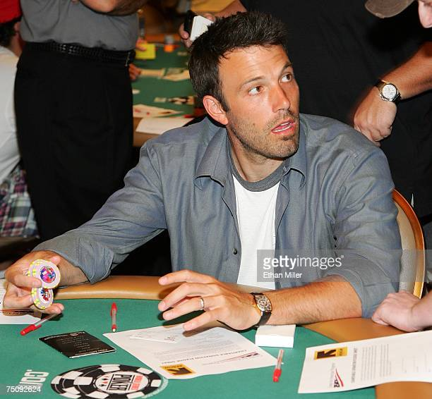 Actor Ben Affleck gets ready to compete in the Ante Up for Africa celebrity poker tournament during the World Series of Poker at the Rio Hotel Casino...