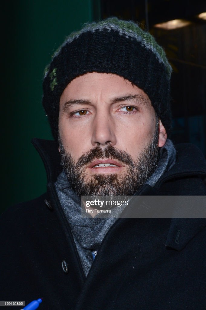 Actor Ben Affleck leaves the 'Good Morning America' taping at ABC Times Square Studios on January 8, 2013 in New York City.