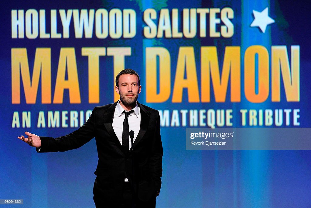 Actor <a gi-track='captionPersonalityLinkClicked' href=/galleries/search?phrase=Ben+Affleck&family=editorial&specificpeople=201856 ng-click='$event.stopPropagation()'>Ben Affleck</a> speaks onstage during American Cinematheque 24th Annual Award Presentation To Matt Damon at The Beverly Hilton hotel on March 27, 2010 in Beverly Hills, California.