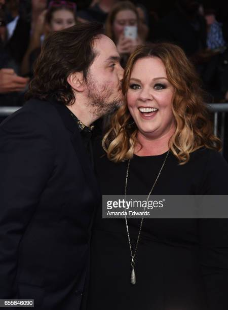 Actor Ben Falcone and actress Melissa McCarthy arrive at the premiere of Warner Bros Pictures' 'CHiPS' at the TCL Chinese Theatre on March 20 2017 in...
