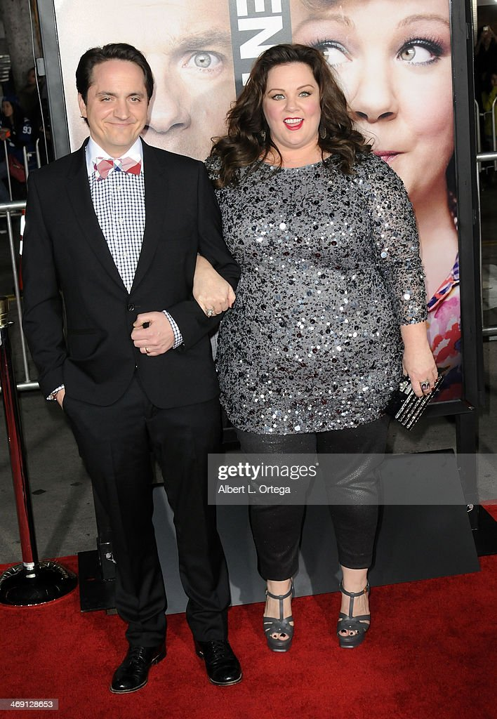 Actor <a gi-track='captionPersonalityLinkClicked' href=/galleries/search?phrase=Ben+Falcone&family=editorial&specificpeople=4068633 ng-click='$event.stopPropagation()'>Ben Falcone</a> and actress Melissa McCarthy arrive for the Premiere Of Universal Pictures' 'Identity Thief' held at Mann Village Theater on February 4, 2013 in Westwood, California.