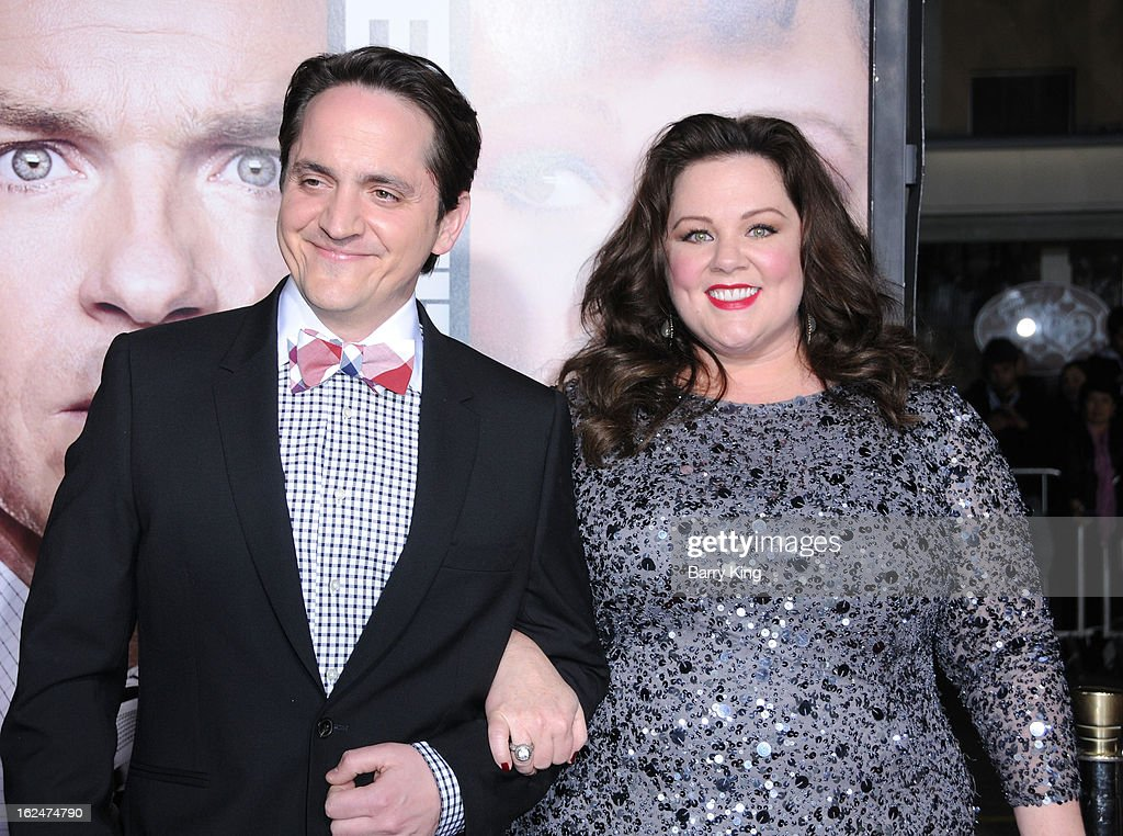 Actor Ben Falcone and actress Melissa McCarthy arrives at the Los Angeles premiere of 'Identity Thief' held at Mann Village Theatre on February 4, 2013 in Westwood, California.
